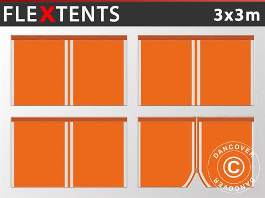 Sidewall kit for Pop up gazebo FleXtents 3x3 m, Orange Reflective