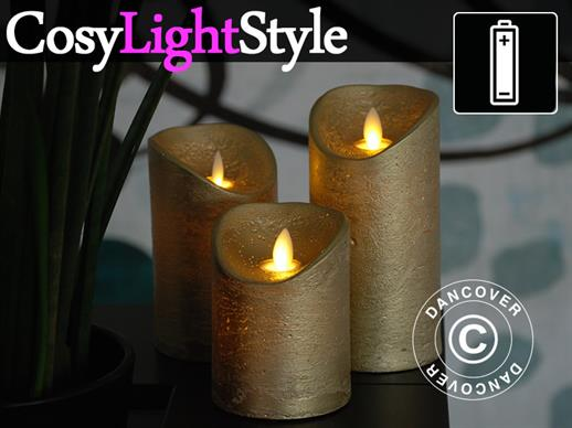 LED Wax Candle, Ø7.5 cm, 3 pcs set, Gold