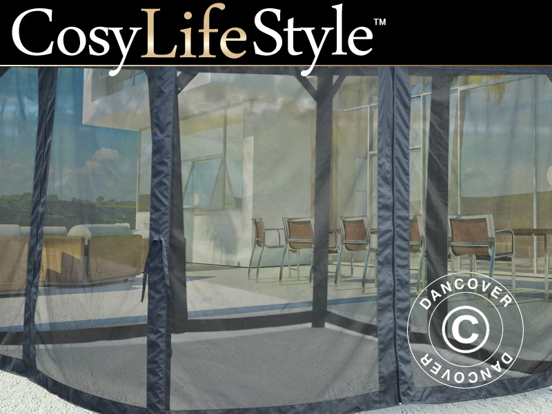 moskitonetz f r pavillon santa monica 3x3m 4 st grau dancovershop ch. Black Bedroom Furniture Sets. Home Design Ideas
