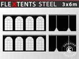 Kit de muros laterales para carpa plegable FleXtents Steel y Basic v.3 3x6m, Negro