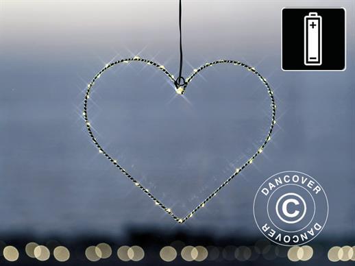 LED Hjerte, Lille, Liva, Sirius, 26cm, Sort/Varm Hvid - Dancovershop DK