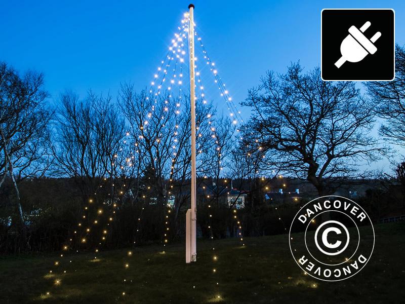 Vlaggenmast Kerstmis LED-verlichting, David, 10x7m, Warm Wit ...