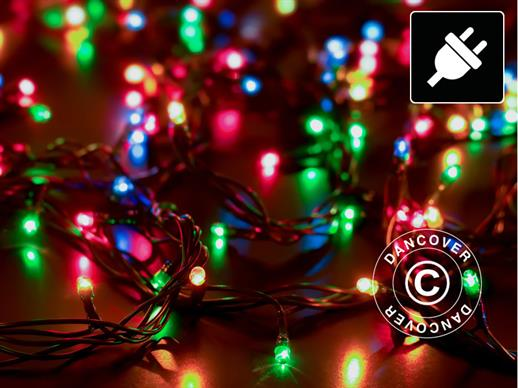 LED Fairy lights, 25 m, Multifunction, Multi coloured, Green cord
