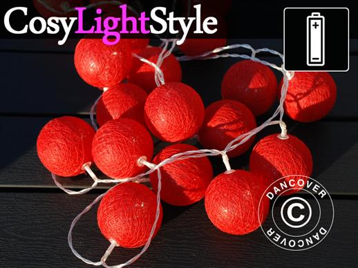 Cotton Ball fairy lights, Leo, 30 LED, Red