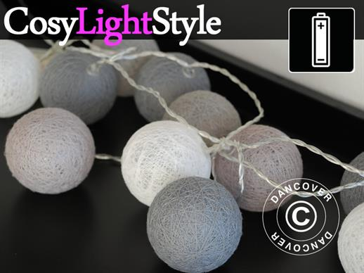 Cotton Ball fairy lights, Gemini, 30 LED, Grey mix