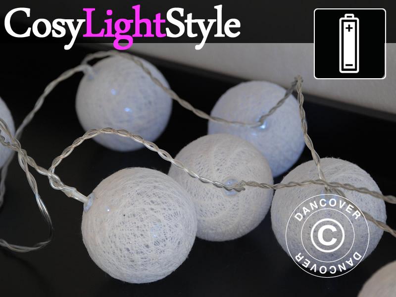 guirlande boule coton led aries 30 led blanc dancovershop fr. Black Bedroom Furniture Sets. Home Design Ideas