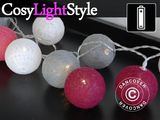 Cotton Ball fairy lights, Capricorn, 30 LED, Pink mix