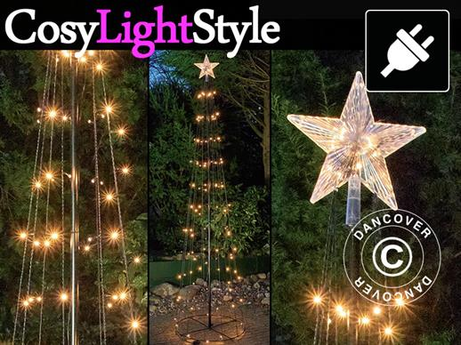 LED light tree with star, 2.4 m, multifunction, warm white