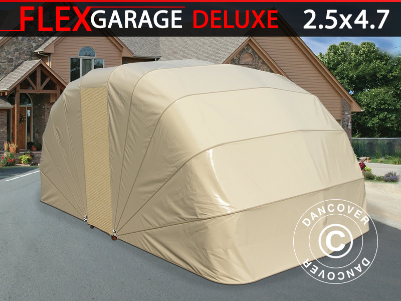 Folding garage (Car), 2.5x4.7x2 m, Beige - Dancovershop UK