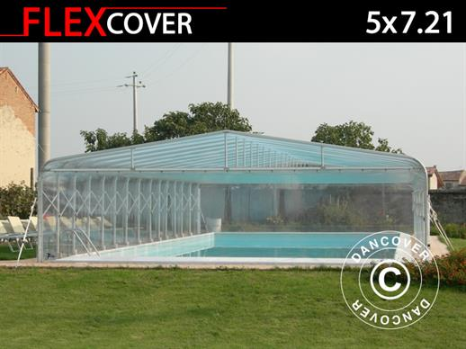 Abri tunnel pour piscine, pliable, 5x7,21x2,65m, Blanc/Transparent