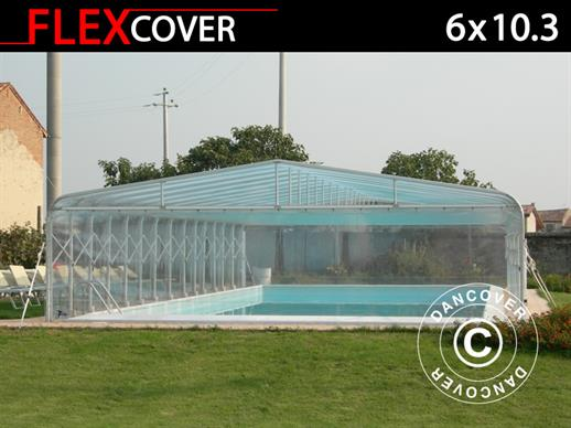 Pool cover tunnel, foldable, 6x10.3x2.7 m, White/Transparent