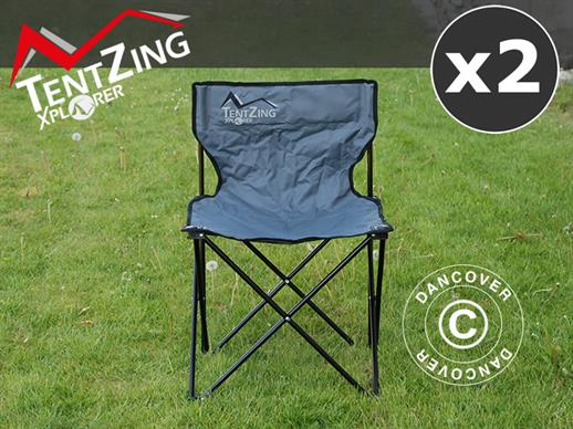 Camping chair, foldable, TentZing®, Grey, 2 pcs.