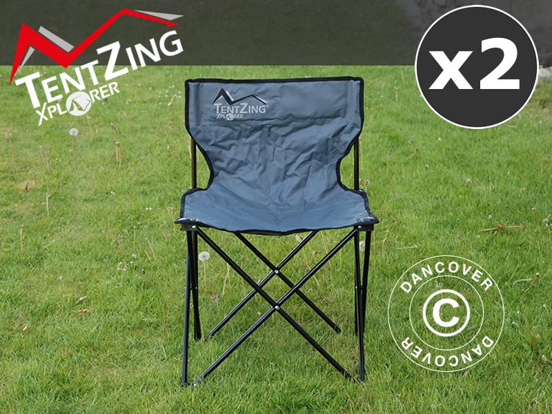 Utmerket Campingstol, sammenleggbar, TentZing®, Grå, 2 stk. - Dancovershop NO PA-78