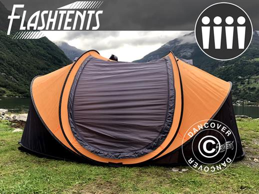 Campingtelt Pop-up, FlashTents®, 4 personer, Large, Orange/Mørkegrå