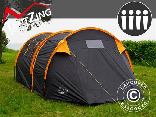 Camping tent, TentZing® Tunnel, 4 persons, Orange/Dark Grey