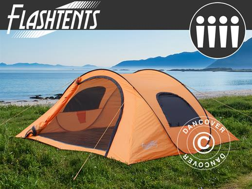 Kempinga telts pop-up, Flashtents®, 4 personām, Medium PT-1, Oranža/Tumši pelēka