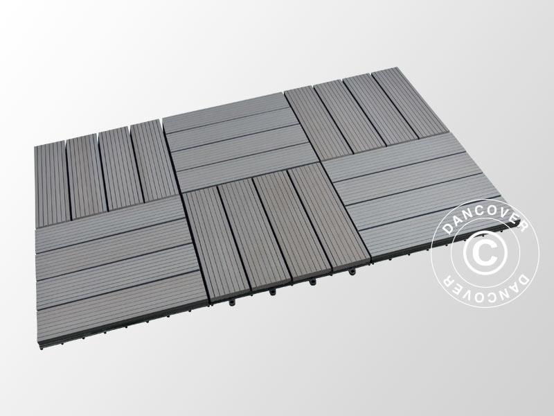 Piastrelle in wpc per pavimenti esterni 0 3x0 3m grigio scuro 6pz