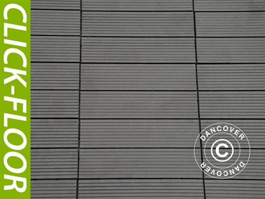 Decking tiles WPC Click-Floor, Lines, 30x30 cm, 9 pcs/box, Grey