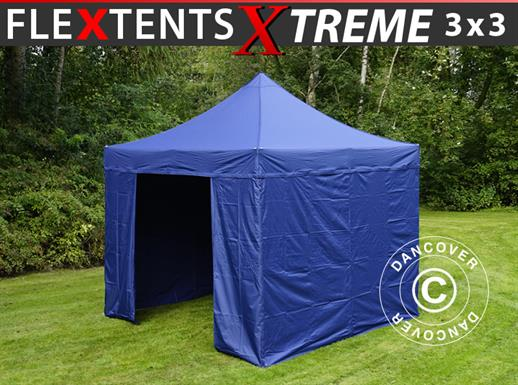 Carpa plegable FleXtents Xtreme 50 3x3m Azul oscuro, Incl. 4 lados