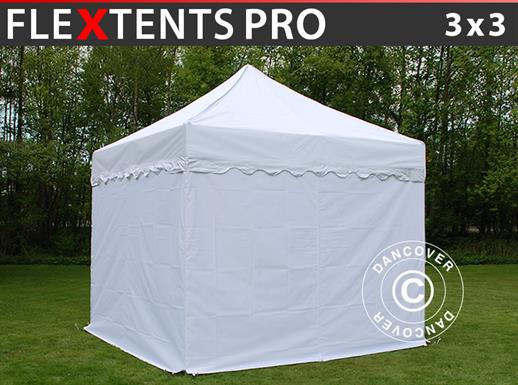 "Vouwtent/Easy up tent FleXtents PRO ""Wave"" 3x3m Wit, inkl. 4 Zijwanden"