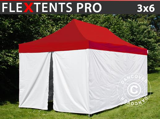 Pop up gazebo FleXtents® PRO, Medical & Emergency tent, 3x6 m, Red/White, incl. 6 sidewalls