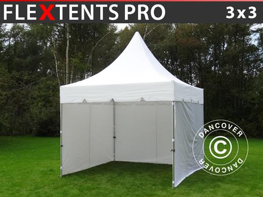 Vouwtent/Easy up tent FleXtents PRO Peak Pagoda 3x3m Wit, Incl. 4 zijwanden