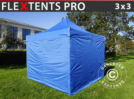 Tenda Dobrável FleXtents PRO 3x3m Azul, incl. 4 paredes laterais