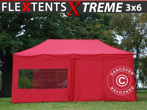 Pop up gazebo FleXtents Xtreme 3x6 m Red, incl. 6 sidewalls