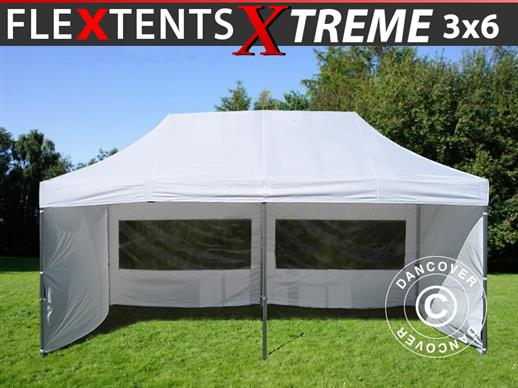Quick-up telt FleXtents Xtreme 3x6m Hvit, inkl. 6 sider