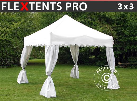 "Pop up gazebo FleXtents PRO ""Wave"" 3x3 m White, incl. 4 decorative curtains"