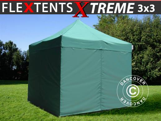 Pop up gazebo FleXtents Xtreme 50 3x3 m Green, incl. 4 sidewalls