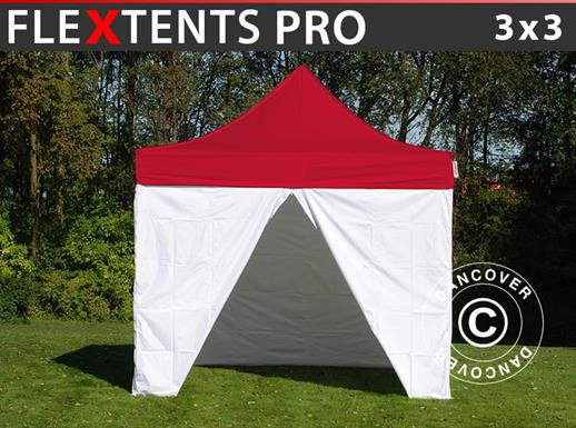 Pop up gazebo FleXtents® PRO, Medical & Emergency tent, 3x3 m, Red/White, incl. 4 sidewalls