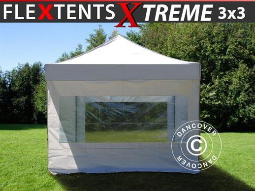Vouwtent/Easy up tent FleXtents Xtreme 3x3m Wit, inkl. 4 Zijwanden