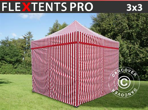 Carpa plegable FleXtents PRO 3x3m Rayado, incl. 4 lados