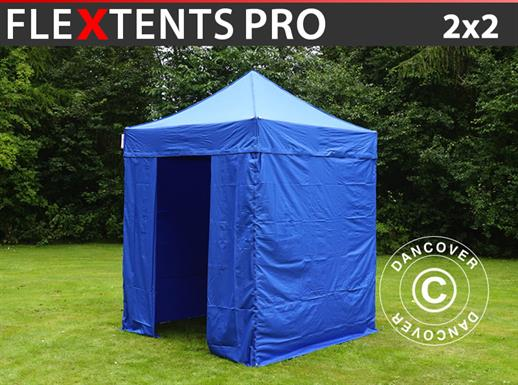 Pop up gazebo FleXtents PRO 2x2 m Blue, incl. 4 sidewalls