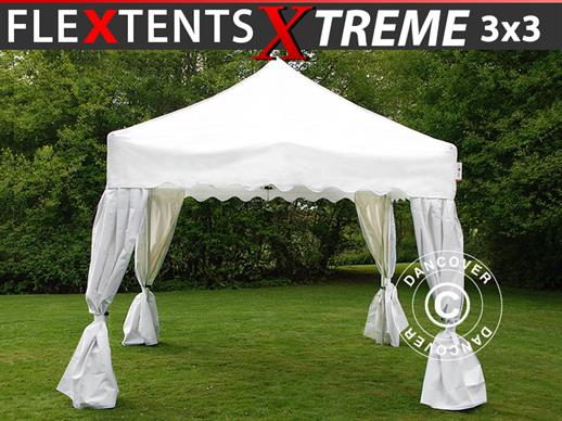 "Carpa plegable FleXtents Xtreme ""Wave"" 3x3m Blanco, incl. 4 cortinas decorativas"