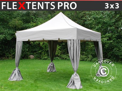"Pop up gazebo FleXtents PRO ""Peaked"" 3x3 m Latte, incl. 4 decorative curtains"