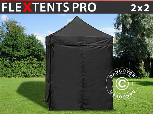 Pop up gazebo FleXtents PRO 2x2 m Black, incl. 4 sidewalls