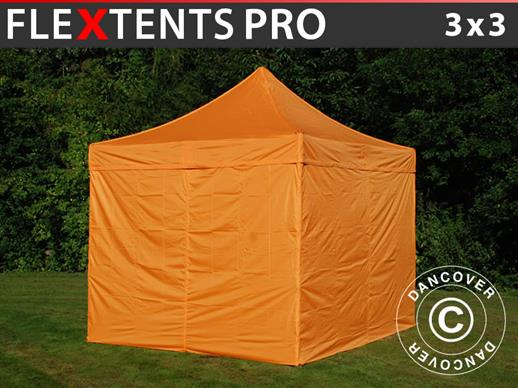 Vouwtent/Easy up tent FleXtents PRO 3x3m Oranje, inkl. 4 Zijwanden