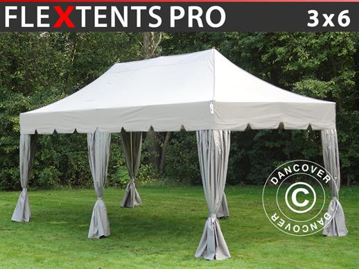 "Carpa plegable FleXtents PRO ""Peaked"" 3x6m Latte, incl. 6 cortinas decorativas"