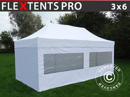 "Vouwtent/Easy up tent FleXtents PRO ""Peaked"" 3x6m Wit, inkl. 6 zijwanden"