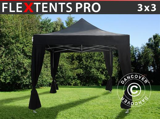 Vouwtent/Easy up tent FleXtents PRO 3x3m Zwart, incl. 4 decoratieve gordijnen