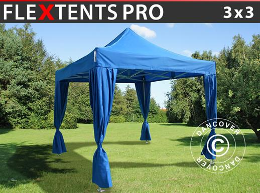 Carpa plegable FleXtents PRO 3x3m Azul, Incl. 4 cortinas decorativas