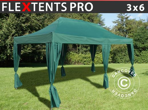 Vouwtent/Easy up tent FleXtents PRO 3x6m Groen, incl. 6 decoratieve gordijnen