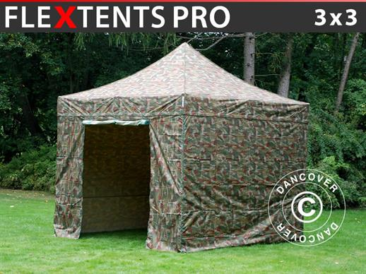 Pop up gazebo FleXtents PRO 3x3 m Camouflage/Military, incl. 4 sidewalls