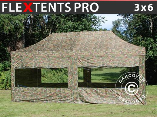 Pop up gazebo FleXtents PRO 3x6 m Camouflage/Military, incl. 6 sidewalls