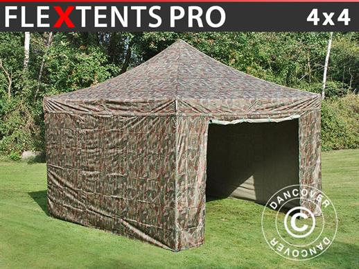Pop up gazebo FleXtents PRO 4x4 m Camouflage/Military, incl. 4 sidewalls