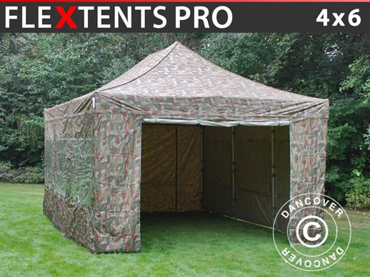 Pop up gazebo FleXtents PRO 4x6 m Camouflage/Military, incl. 8 sidewalls