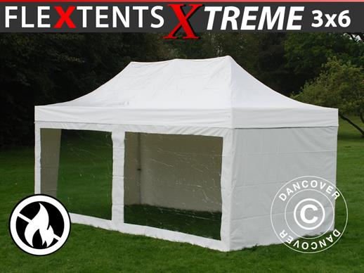 Pop up Gazebo FleXtents Xtreme Heavy Duty 3x6 m White, incl. 6 sidewalls