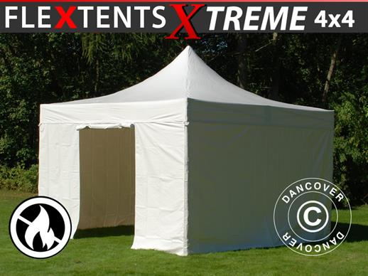 Vouwtent/Easy up tent FleXtents Xtreme 50 Heavy Duty 4x4m, Wit inkl 4 Zijwanden